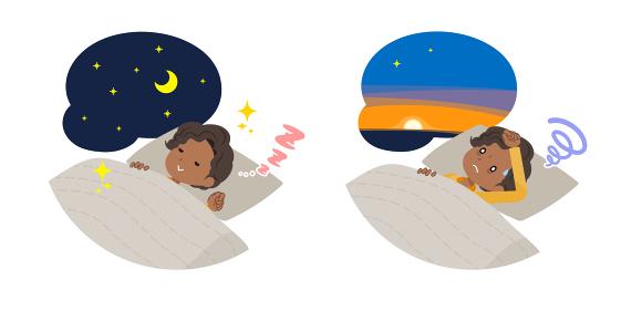 安眠・不眠の黒人ビジネス女性のセット