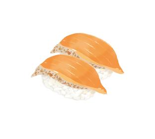 リアルで美味しそうなサーモンのお寿司のイラストレーション