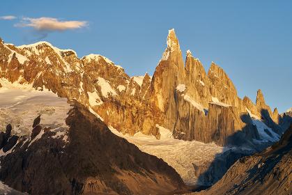 golden hour at sunrise at Cerro Torre