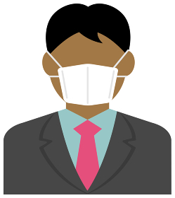 マスクを着けたサラリーマン・ビジネスマン (上半身) / カラーイラストアイコン (アジア人・黒人)