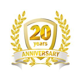 20周年のロゴ 月桂樹・月桂冠とガーランド・バナーをモチーフにしたアニバーサリーエンブレム
