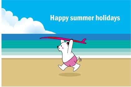 暑中見舞いテンプレート夏のイメージのサーフボードを持ったシロクマのイラスト|ビーチ背景