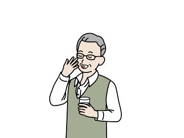 錠剤 サプリ 薬を飲む 年配の男性 シニア 高齢者 健康 イラスト素材