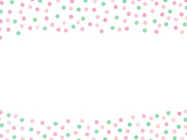 ピンクとグリーンのレトロガーリーな水玉背景 白バック