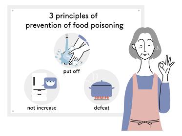 食中毒予防の三原則/シニア女性(英語)