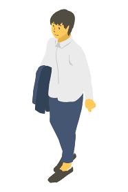 アイソメトリック図法で上着を持つ中性的な人