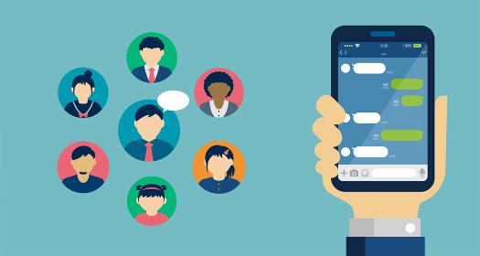 SNS/メッセージアプリ/チャットアプリ 手持ちスマートフォン バナーイラスト