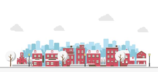 横並び ビル・建物・家 (風景・街並み) バナーイラスト / 冬・クリスマス