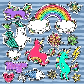 Fashion patch badge elements in cartoon 80s-90s comic style. Set modern trend doodle pop art sketch.. Fashion patch badge elements in cartoon 80s-90s comic style. Set modern trend doodle pop art sketch with rainbow unicorns. Vector clip art illustration isolated.
