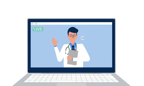 医師のオンライン診療のイラストイメージ