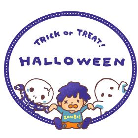ハロウィンの仮装をした子供たち(お化け、ゾンビ、骨人間)のベクターイラスト 円形フレーム