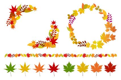 秋の紅葉のフレームやアイコンセット