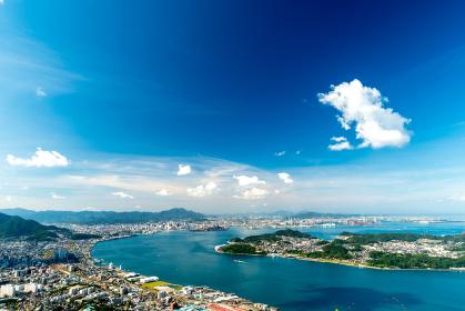 風師山展望台からの眺める関門海峡と北九州