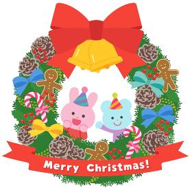 クリスマスリース/ウサギとネズミ