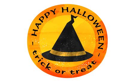 ハロウィンのオレンジのアイコン、先の曲がった魔女の帽子のイラスト