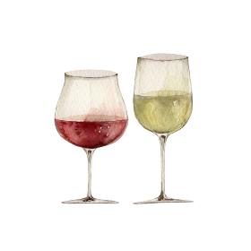 赤ワインと白ワインのグラス イラスト 水彩