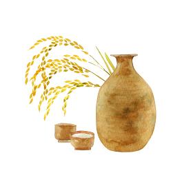日本酒と稲 お猪口と徳利 水彩 イラスト