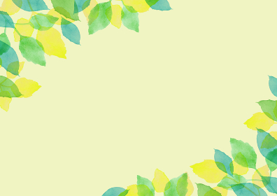 水彩で描いた新緑の背景フレーム