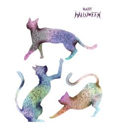ハロウィン ハロウィーン 猫 黒猫 シルエット 水彩 イラスト