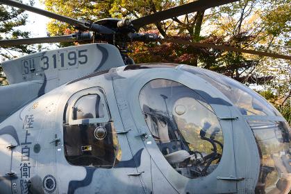 広場に展示されているヘリコプター