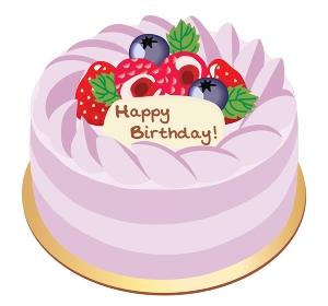イチゴとベリーの紫色のお誕生日ケーキ