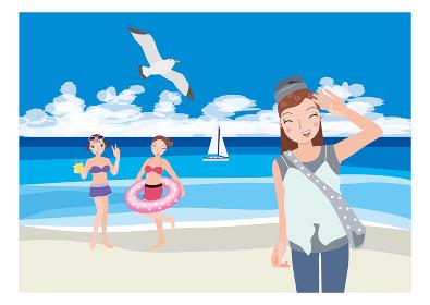 海岸で海水浴を楽しむ女性とカモメ