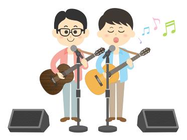 男性ミュージシャンバンドのコンサートのイラスト