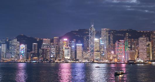 Victoria harbor, Hong Kong -13 December 2018: Hong Kong skyline at night