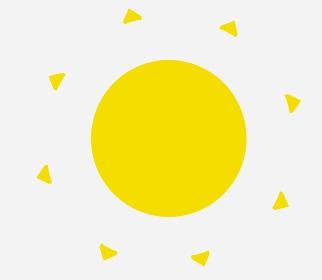 左を向く黄色の熱い太陽