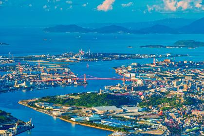 皿倉山展望台から望む晴天の北九州都市風景