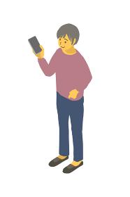アイソメトリック図法で、スマートフォンを見る健康的な高齢者女性のベクターイラスト
