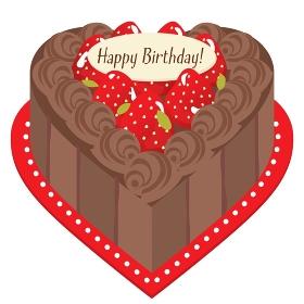 ハート形のチョコレートと苺のお誕生日ケーキ