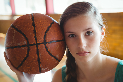 Close up portrait of female basketball player