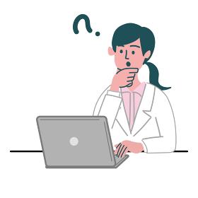 医師 医者 女性 パソコン 考えている