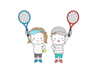 テニスラケットをもって張り切る男の子と女の子 帽子、サンバイザー