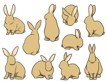 おすわりウサギ オレンジセット