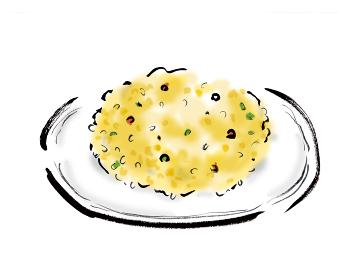 手描きイラスト素材 洋食 カレーピラフ, ピラフ