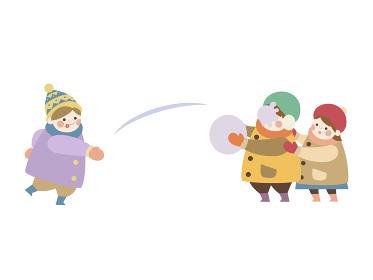 雪合戦する子供たち
