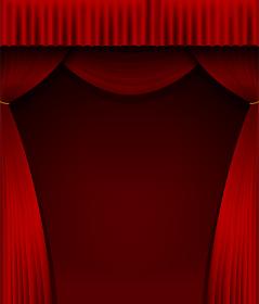 舞台の赤い暗幕カーテン 背景イラスト素材 (縦)