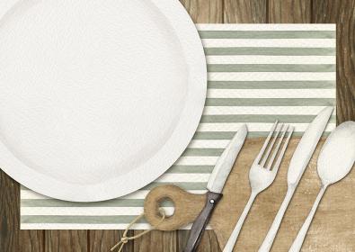 テーブルウェア カトラリー 木製 背景 水彩 イラスト