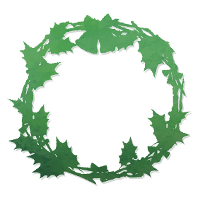 クリスマスリースのイラスト 緑グラデーション