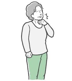 のどの痛みを感じる長袖を着た中年女性