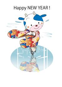 年賀テンプレート、牛のフィギュアスケート