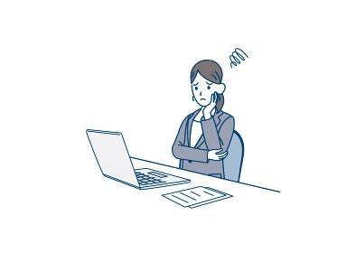 パソコンの前で悩むスーツ姿の女性 会社員 トラブル 不安 心配 イラスト素材