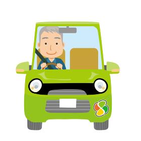 可愛らしい自動車ドライブのイラスト正面シニアお年寄り老人と紅葉マーク男性お爺さん