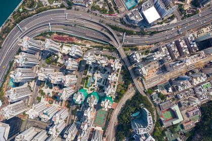 Tai Koo, Hong Kong 19 March 2019: Top down view of Hong Kong city