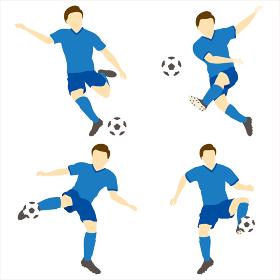 サッカーをする男性シンプルセット01