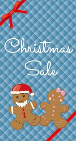 ウィンターセールバナー販売促進用テンプレート|ジンジャーマンクッキーとギフトリボンとグリッドの背景