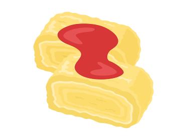 ケチャップをかけた卵焼きのイラスト