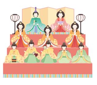 ひな祭り シンプルでかわいい雛飾りのイラストレーション